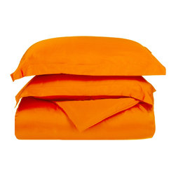 Microfiber Solid Orange King/California King Duvet Cover Set - Explore the amazing feel of our Vanessa Collection Microfiber Duvets. Made with 100% microfiber and designed to resist wrinkles and pilling, they will stay like new through many machine wash cycles. Strong and durable, yet luxuriously soft, these duvets offer all the advantages of standard cotton duvets at less cost to you! Set includes One Duvet Cover 106x92 and Two Pillow-shams 20x36 each.
