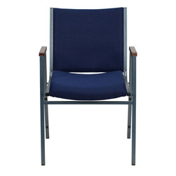 """Flash Furniture - HERCULES Series Heavy Duty, 3'' Thickly Padded, Navy Patterned Upholstered Stack - This functional stack chair can be used in a multitude of environments from small to large. The versatility of the chair makes it appropriate to use in the Church, Offices, and Training Rooms or in the Classroom or Home. The thick padded seat and back will keep users comfortable throughout the duration of the day. Not only is this chair comfortable, but it is very durable with its heavy duty frame with bumper guards that will prevent the finish on the frame from being scratched when stacked. So when in need of temporary or permanent seating this multi-purpose stack chair is sure to meet the needs for any venue.; Multi-Purpose Stacking Chair; Stacks 12 Chairs High; Navy Patterned Fabric Upholstery; Thick High Density Foam over .625"""" Thick Plywood Seat and Back; Cherry Capped Arms; Heavy Duty .75"""" Square Tubular Frame; 18-Gauge High Carbon Steel Frame; .625"""" Stretcher Bars in Front and Back provide Extra Support; Silver Vein Powder Coated Frame Finish; Plastic Bumper Guards; Plastic Floor Glides; Meets or Exceeds CA117 Fire Resistance Standards; Limited Lifetime Warranty on Frame; Assembly Required: No; Country of Origin: China; Warranty: 2 Years; Weight: 21 lbs.; Dimensions: 31""""H x 21""""W x 21""""D"""