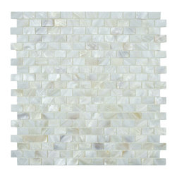 None - SomerTile Seashell Subway White Mosaic Tile (Pack of 10) - Brighten up your kitchen decor with this white mosaic tile from SomerTile. Crafted out of natural shell pieces to give the room an iridescent feel,this elegant tile resists water absorption,making it the perfection solution for indoor and outdoor use.