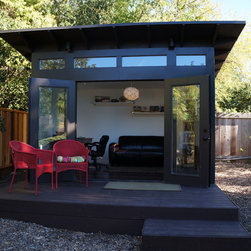 10x12 Studio Shed home office & family room - 10x12 Studio Shed + Lifestyle Interior package