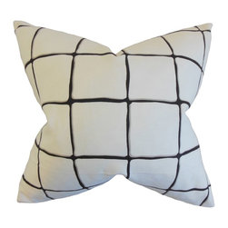 "The Pillow Collection - Owen Checked Pillow, Ink 18"" x 18"" - Add a contemporary flair to your home with this plush accent piece."