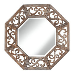 """Lamps Plus - Openwork Ocho 33"""" High Openwork Wood Wall Mirror - Decorate your walls with the lively look of this wood frame wall mirror with beautiful openwork scrolls. In a natural wood finish the frame adds warmth and style to the octagonal wall mirror. Beveled mirror glass lends a classic finishing touch to this wonderful wall design. Octagonal wall mirror. Wood frame in an openwork scroll motif. Beveled mirror glass. 33"""" high. 33"""" wide.  Octagonal wall mirror.  Wood frame in an openwork scroll motif.  Beveled mirror glass.  33"""" high.  33"""" wide."""