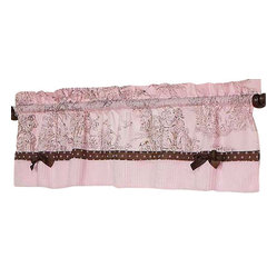 Pink & Brown Toile Window Valance