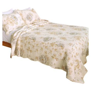 Blancho Bedding - Floral Dream 100% Cotton 3PC Vermicelli-Quilted Patchwork Quilt Set Full/Queen - The [Floral Dream] Quilt Set (Full/Queen Size) includes a quilt and two quilted shams. Shell and fill are 100% cotton. For convenience, all bedding components are machine washable on cold in the gentle cycle and can be dried on low heat and will last you years. Intricate vermicelli quilting provides a rich surface texture. This vermicelli-quilted quilt set will refresh your bedroom decor instantly, create a cozy and inviting atmosphere and is sure to transform the look of your bedroom or guest room. Dimensions: Full/Queen quilt: 90 inches x 98 inches; Standard sham: 20 inches x 26 inches.