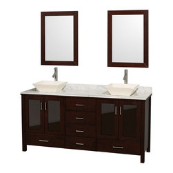 "Wyndham Collection - Wyndham Collection 72"" Lucy Double Sink Vanity Set w/ White Carrera Marble Top - The Lucy Double Bathroom Vanity by Wyndham Collection is as beautiful as it is functional. The modern design puts a visual emphasis on clean lines, luxurious natural marble, abundant storage for two, and is at home in almost every bathroom decor. Included in the Lucy Double Bathroom Vanity are either solid White Carrera Marble or Ivory Marble counters, a multitude of sink options, and a pair of matching mirrors. Featuring soft-close door hinges, you'll never hear a door slam shut again! A rich espresso finish, four doors, and six drawers, and the ease of installation of a free-standing vanity are among the features. Upgrades to a custom CaesarStone counter are available to perfectly suit your style. The Wyndham Collection is an entirely unique and innovative bath line. Sure to inspire imitators, the original Wyndham Collection sets new standards for design and construction."