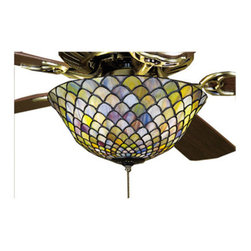 """Meyda Tiffany - Meyda 12""""W Tiffany Fishscale Fan Light Fixture - A Louis Comfort Tiffany studio classic fish scale pattern reproduced in variegated glass of Honey dripped Emerald, Sapphire, and Garnet. This handsome stained-glass shade is used with Mahogany Bronze hand finished hardware. A versatile fanlight fixture to complement any color or style."""
