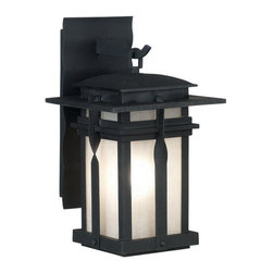 Kenroy Home - Kenroy 91902BL Carrington 1 Lt. Med. Lantern - The Carrington wall lanterns are a modern culmination of a classic wrought iron look that applies contemporary design to a familiar fixture of exterior lighting.  Amber and Frosted White glass pair beautifully with Rust and Black housings.