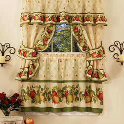 "Window Treatment Ideas With Fruits - Apple Orchard is a cute complete set. The set includes one pair of tailored tiers, one ruffled topper with attached valance, and one pair of tiebacks, a great value. Fabric is 70% polyester/ 30% cotton, machine washable. Pattern includes Apple border, accented with green stripe, on a antique background. Curtains are 57""W and tiers are available in 24""L or 36""L."