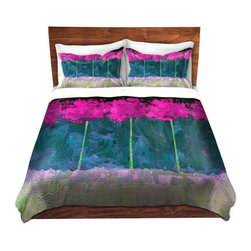 DiaNoche Designs - Duvet Cover Twill - Fuschia Trees - Lightweight and soft brushed twill Duvet Cover sizes Twin, Queen, King.  SHAMS NOT INCLUDED.  This duvet is designed to wash upon arrival for maximum softness.   Each duvet starts by looming the fabric and cutting to the size ordered.  The Image is printed and your Duvet Cover is meticulously sewn together with ties in each corner and a concealed zip closure.  All in the USA!!  Poly top with a Cotton Poly underside.  Dye Sublimation printing permanently adheres the ink to the material for long life and durability. Printed top, cream colored bottom, Machine Washable, Product may vary slightly from image.