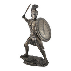 Bronzed Spartan Warrior with Sword and Hoplite Shield Statue - The Spartans were one of the most feared military forces in world history, and it was commonly accepted that `one Spartan was worth several men of any other state.` This statue depicts a Spartan warrior in full armor, sword in one hand and shield in the other, ready for battle. Made of cold cast resin, it measures 13 inches tall, 7 inches wide, 6 1/2 inches deep, and the bottom of the base is lined with felt to prevent it from scratching delicate surfaces. The bronzed finish emphasizes the detail of the piece, from the texture of the rocks he stands on to his fierce facial expression. It makes a great gift for history buffs, and looks wonderful displayed in your home or office.