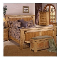 Artisan Home Furniture - Lodge 100 Panel Bed - The Lodge collection invit's you to sit down, get comfortable and stay a while. Select alder and cottonwood are used to build functional and sturdy pieces for years to come. Casually elegant and striking, all the pieces in this collection display eye pleasing appeal, bringing you images of a quiet mountain country getaway; an escape from daily routine, in your own home. Features: -Lodge 100 collection. -Multi-step lacquer finish. -Cottonwood, alder and pine construction. -Headboard and footboard features metal details and are hand forged and carefully placed into frames and mortise and tennon durable construction with light stain. -Hardwoods give additional strength, durability and beauty. -Final wood tone protective lacquer coating gives D, color and clarity and brings out natural elegance. -Metal trim hardware has an oven treated paint application which allows a solid iron look with protection from rust and tarnish. -1 Year warranty.