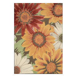 Nourison - South Beach Floral Sunflower Sunflower 10' x 13' Nourison Rug by RugLots - Make your outdoors as fabulous as your interiors with this exciting collection of indoor/outdoor rugs. Featuring gorgeous oversized wildflower prints and spectacular color palettes this collection enchants, uplifts and lends an easy elegance to its surroundings. Some of the unique features of this collection are Indoor or Outdoor Uses,UV Protected, Mildew Proof, Fade Resistant, Space Dyed, Easy Clean: Just Rinse with a Hose