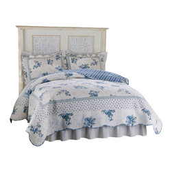 Pem America - Rose Blossom Blue King Quilt - Scalloped edges, delicate flowers and fine stitching in this classic bed. 100% cotton face materials and cotton fill make this quilt a classic for any traditional bedroom. King Quilt measures 100 inches by 90 inches. 100% Cotton Face cloth with 94% cotton / 6% other fiber fill. Prewashed for comfort. Machine washable.
