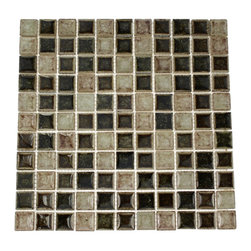 """GlassTileStore - Roman Collection Il Suolo 1x1 Glass Tile - Roman Collection Il Suolo 1x1 Glass Tile          These gorgeous mosaics are hand pressed and hand filled. Each glass chip are hand pressed and then filled with colored crushed glass chips to create an intensely faceted surface that capture and reflects light, making it look like thousand tiny diamonds. Great to use as a back splash; as wella s the bathroom or any decorated spot in your home.         Chip Size: 1x1   Color: Coke Brown, Wine, Dark Chocolate   Glass and Porcelain Shell Filled with Crushed Glass   Finish: Crackled Glass and Colored Chips Enveloped in Porcelain   Sold by the Sheet - each sheet measures 11.5""""x11.5"""" (0.88 sq. ft.)   Thickness: 12mm             - Glass Tile -"""