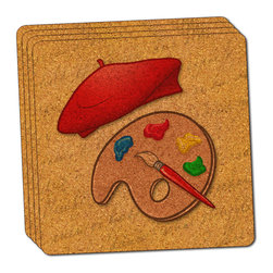 """Made on Terra - Paint Palette with Red Beret Thin Cork Coaster Set of 4 - You're just cleaning up after your epic party when you realize it... something's different. Unlike all those other times, you're not mopping up cup condensation from your counters and tables. This time, everyone used a coaster. Everyone. Maybe it's because you handed out a coaster with every glass. No. You've tried that before. No, this time it's because of the actual coasters. You found the cutest Made On Terra printed cork coasters. You love that everyone commented on how unique they were,  from the light-weight, thin cork material to the printing that creates a cool and subtle effect. Plus, they're really absorbent, but dry quickly. And they're made from an eco-friendly, sustainable resource, so that makes you feel pretty great, too. Choose from Made on Terra's many fabulous cork coasters. Measures 4"""" x 4"""" x 1/8"""". Made of thin cork. Super cute and nicely absorbent. Sold in sets of four."""
