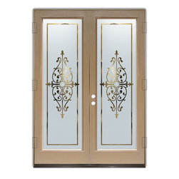 Sans Soucie Art Glass (door frame material Plastpro) - Glass Front Entry Door Sans Soucie Art Glass Barcelona - Sans Soucie Art Glass Front Door with Sandblast Etched Glass Design. Get the privacy you need without blocking light, thru beautiful works of etched glass art by Sans Soucie!This glass is semi-private. Door material will be unfinished, ready for paint or stain.Bronze Sill, Sweep.Satin Nickel Hinges. Available in other finishes, sizes, swing directions and door materials.Dual Pane Tempered Safety Glass.Cleaning is the same as regular clear glass. Use glass cleaner and a soft cloth.