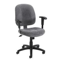 """BOSS Chair - Computer Chair w Adjustable Arms, Lumbar Supp - Don't spend another working minute without this office chair's comfort, quality and style. It has a black nylon base, padded armrests, smoke grey upholstered seat and back, dual wheel casters and superior lumbar support. Adjustable tilt tension allows for customized configuration. Mid-back styling with firm lumbar support. Elegantly upholstered in Chenille fabric. Large 27"""" nylon base for greater stability. Hooded double wheel casters. Pneumatic gas lift seat height adjustment. Adjustable tilt tension control. Cushion color: Smoke. Base/wood: Black. Seat size: 20.5 in. W x 22 in. D. Seat height: 17 in. -20.5 in. H. Arm height: 25-31 in. H. Overall dimension: 26 in. W x 27 in. D x 37-40 in. H. Weight capacity: 250 lbs"""