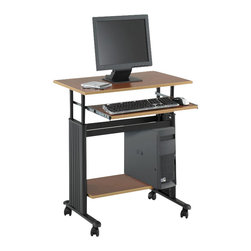 "Safco - Safco MUV 28"" Height Adjustable Metal / Wood Workstation in Cherry - Safco - Computer Desks - 1925CY - This mobile computer workstation is sure to be a welcome convenience in the home or office where a relocatable task desk is needed at times. A height-adjustable work surface and lower utility shelf and extending keyboard tray offer the basics and the four-wheel caster base means this desk can be moved easily with a locking wheel function for secure placement."