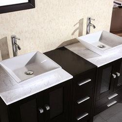 "61"" Arlington Double Vessel Sink Vanity - Marble Top (DEC072B) -"