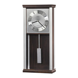 HOWARD MILLER - Howard Miller Brody - Contemporary Wall Clock - This wall clock features brushed aluminum corners and polished silver-tone accents which complement the ebony finished top and base.