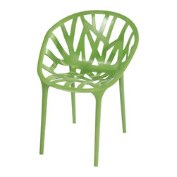 Branch Chair Set of 2, Green - Stylish and lightweight, these accent chairs are a breeze to clean, store and combine with any furniture in your living room, dining room, or bedroom. Also useful for outdoors purposes.