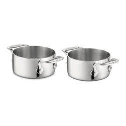 "All-Clad - All-Clad Stainless Steel Soup Ramekins (Set of 2) - Perfect for oven to table entertaining, the pair of 20-ounce stainless ramekins boast iconic riveted loop handles. Ideal for broiling cheese over French Onion Soup or baking an individual chocolate soufflé.  Finest-quality, highly-polished 18/10 stainless steel Easy to clean stainless will not react with food Single ply Stainless riveted loop handles Made in China Quantity: Set of two Size: 4.5"" x 2.25"" Weight: 3 lbs."