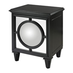 Joshua Marshal - Gloss Black Cabinet With Covex Mirror - Gloss Black Cabinet With Covex Mirror