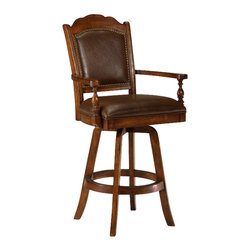 Hillsdale Furniture - Hillsdale Nassau Swivel Leather Game 30 Inch Barstool - The Nassau game stool is distinguished and regal. The classic lines and nail head trim on the stools make them elegant and practical. Stool has a 360 degree swivel. Finished in brown with a brown leather seat and back.