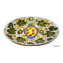 Artistica - Hand Made in Italy - Majolica: Dei Medici Large Oval Platter Caffaggiolo (Also Wall Hung) - Majolica Collection: