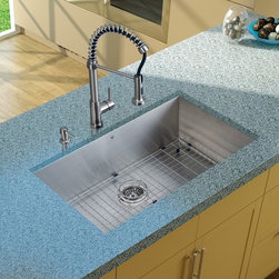 Vigo Industries - Platinum Kitchen Sink in Satin Finish - Includes stainless steel kitchen sink, stainless steel kitchen faucet, matching grid, strainer and stainless steel soap dispenser and all mounting hardware