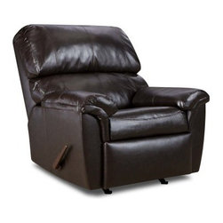 Simmons London Walnut Bonded Leather Oversized Recliner - The Simmons London Walnut Bonded Leather Oversized Recliner is sure to be the best seat in the house. With soft, bonded leather outside and high density foam cushioning, inside, this recliner provides comfortable and relaxed seating. Featuring a hardwood and steel frame, this rocker recliner is built to last. Decoratively stitched seat cushions, arms and inside back, along with a rich finish, add to the visual appeal of this recliner.