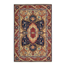 "Nourison - Nourison Nourmak S163 5'10"" x 8'10"" Navy Area Rug 47077 - This regal piece takes center stage with aristocratic ease. Its dramatic colors create a thrilling interplay of midnight blue, ruby red and apricot, with details in Russian blue and plum. Highly decorative in the Bessarabian tradition and a work of incredible beauty."