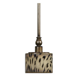Uttermost - Malawi 1-Light Mini Pendant - A feline-flavored, mini pendant light with an antique silver finish. The cheetah print shade is a seriously sharp accent for any lighting layout. Think outside the box on this one, and you won't be disappointed with this sleek and sultry hanging lamp.