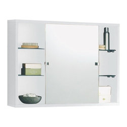 Gedy - Wall Mounted One-Piece Medicine Cabinet With Sliding Mirrored Doors in Mat White - If your bathroom lacks a storage cabinet, why not consider this designer storage cabinet from the Gedy Baltimora collection? Perfect for more modern settings, this high-end storage cabinet is wall hung and coated in mat white.
