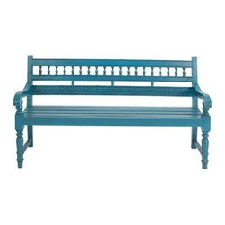 "Benzara - Mahogany Wooden Bench in Turquoise Blue For 3-4 Persons - Mahogany Wooden Bench in turquoise blue for 3-4 persons. The wooden bench is made of 100 percent mahogany wood for durability. It has curved arm rests, crafted back rest and well designed solid legs for stability. It comes with a dimension of 63"" W x 23"" D x 37"" H. Some assembly may be required."