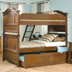 Bradford Twin over Twin Bunk Bed - What's more fun than bunk beds? The answer: nothing. So style up your kids room with the Bradford Twin over Twin Bunk Bed. Durably constructed of Cherry veneer-reinforced Mahogany solids this bunk bed offers either storage or a trundle bed depending on your needs. This bed features an elegant arched design and a Rich Cherry finish. Bunk beds are a great way to add space in your childs room this set offers optional underbed storage trundle or trundle bed great for sleep-overs or unexpected guests. About American WoodcraftersFor unparalleled quality and value choose American Woodcrafters for your youth or master bedroom furniture. Founded in 1996 as a division of Rockford Capital Corporation and located in High Point N.C. American Woodcrafters is the brainchild of John N. Foster. His 40 years of experience in manufacturing marketing and product development inspire the company to deliver superior furniture designs of exceptional value. Each exquisite furniture piece is well-made and creatively styled with a fine quality finish and innovative features to make your home more beautiful and functional.