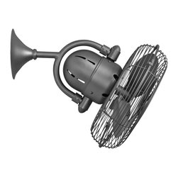 """Matthews Fan Company - Contemporary 13"""" Kaye Brushed Nickel Oscillating Wall Fan - This brushed nickel wall fan has a vintage look reminiscent of train cabin fans of yesteryear with metal blades and stylish safety cage. Rugged design constructed of cast aluminum and steel with three speeds and a complementary Decora-style wall switch. Powerful but with a low profile that makes it ideal for most any situation and its damp location rating make it perfect for bathrooms. Please note: to operate the oscillation independent of the fan blades a 3-wire system is needed. A cool accent for your home from Matthews Fan Company. 3-speed oscillating wall fan. Cast aluminum and steel wall fan. Brushed nickel finish. Hand-balanced metal blades. 13"""" wide. 17"""" high. Includes decorative wall control switch. Rated for dry and damp locations. (IMAP)  Brushed nickel finish.  Brushed nickel finish metal blades.  13"""" blade span.  UL listed for damp locations.   Includes Decora-style wall switch.   18 1/2"""" high.  Extends 17 1/2"""" from the wall.  Backplate is 5 1/2"""" wide."""