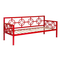 None - Medallion Salsa Red Twin Daybed - This versatile Medallion Twin Daybed features a classic design that fits in perfectly with any decor. This deep daybed provides ample seating and sleeping space and has plastic leg glides to protect floors from being scratched.