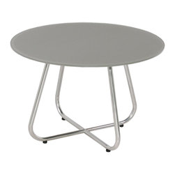 Mamagreen - Gemmy Glass Casual Tables - The Gemmy Glass Casual Table is elegant and stylish. Tubular frames in 304 stainless steel (optional electropolished) support a round table top in an abstract recycled teak pattern. Available in various dimensions and glasses.