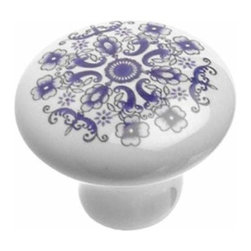 Richelieu Hardware - Richelieu Eclectic Decorative Ceramic Knob 31mm Mosaic Blue - Richelieu Eclectic Decorative Ceramic Knob 31mm Mosaic Blue