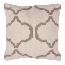 Jaipur Rugs - Cadiz Natural Pillow, Pearl Set of 2 - The neutral tones of this pillow make it easy to incorporate in most rooms, and the quatrefoil-like pattern is sophisticated with a good dose of global interest thrown in. Use one or two in a calming bedroom or living room design, or anywhere else you'd prefer.
