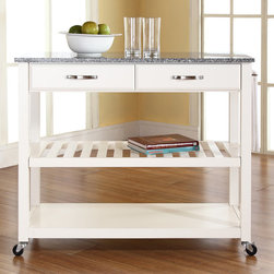 Crosley Furniture - Kitchen Cart with Solid Granite Top - Adjustable/removable shelf. Towel bar. Two deep drawers. Beautiful raised panel drawer fronts. Brushed nickel hardware. Heavy duty caster for mobility. Warranty: 90 days. Made from solid hardwood, wood veneers and solid granite. Hand rubbed, multi-step finish. White finish. Assembly required. 42 in. W x 18 in. D x 36 in. H (125 lbs.)Mobile kitchen cart is designed for longevity. The handsome raised panel drawer fronts provide the ultimate in style to dress up any culinary space. Remove the shelf completely to allow for storing larger objects. The heavy duty casters provide the ultimate in mobility. When the cabinet is where you want it, simply engage the locking casters to prevent movement. Style, function, and quality make this mobile solution a wise addition to your home.