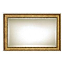 Uttermost Sinatra Wall Mirror - 48W x 31H in. - Traditional elegance is key with the Uttermost Sinatra Mirror. It pays tribute to a true American classic. The wooden frame has been hand-finished with exquisite bronze leafing. It perfectly complements the rectangular glass mirror with generous 1.25-inch beveled edge. Handsome and sophisticated this accent piece will serve equally well in formal dining settings elegant bathrooms and eclectic living rooms. It weighs 48 pounds. Hanging hardware is included. About Uttermost ProductsThe mission of the Uttermost Company is simple: to make great home accessories at a reasonable price. This has been the objective since the family-owned business was founded over 30 years ago. Uttermost manufactures mirrors art metal wall art lamps accessories clocks and lighting fixtures in its Rocky Mount Va. factories. Uttermost provides quality furnishings throughout North and South America Europe and Asia from its state-of-the-art distribution center located on the West Coast of the United States.