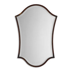 """Uttermost - Uttermost Abra Bronze Vanity Mirror 13584 B - This shapely, beveled mirror features a narrow frame finished in lightly distressed bronze with burnished details. Mirror has a generous 1 1/4"""" bevel."""