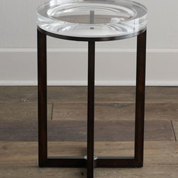 "Horchow - Pierce Side Table - A master of illusion, this unique side table features an extra-thick acrylic top with concave details inside to test your ""depth perception."" Handcrafted of walnut hardwood, ebony veneers, and acrylic. X-shaped stretcher. 16""Dia. x 25""T. Imported....."