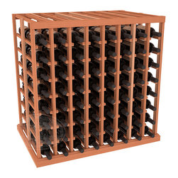 Double Deep Tasting Table Wine Rack Kit in Redwood - The quintessential wine cellar island; this wooden wine rack is a perfect way to create discrete wine storage in open floor space. With an emphasis on customization, install LEDs or add a culinary grade Butcher's Block top to create intimate wine tasting settings. We build this rack to our industry leading standards and your satisfaction is guaranteed.