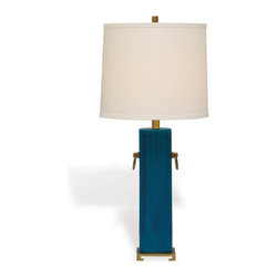 Port 68 - Beverly Lamp, Turquoise - Brighten your space with the Beverly Lamp in turquoise. Featuring solid brass accents, a porcelain cylinder base and white drum-shaped shade, this lamp makes a vibrant and sleek focal piece on an entryway or side table. 150 watt maximum, 3-way switch.  UL Listed.