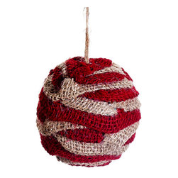 Red Burlap Ornament Ball - Burlap is a staple when decorating a space with the homespun traditional Christmas theme, and this Red Burlap Ornament Ball will make your tree complete!