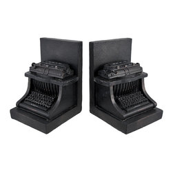 Decorative Black Antique Typewriter Bookends - This set of typewriter bookends is a wonderful addition to any bookshelf, mantel, desk, or table in your home or office. Made of cold cast resin, each measures 6 1/4 inches tall, 4 1/2 inches long, and 4 1/4 inches deep. The bookends have a black, antique finish that make them look as though they are cast iron. This set is a lovely gift for the avid reader or writer in your life, and is sure to be admired.