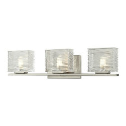 Z-Lite - Z-Lite 3024-3V Jaol 3 Light ADA Compliant Bathroom Vanity Light - Rectangular glass shades with horizontal textured lines soften the bright light of the Jaol vanity family. The flat arm design exudes a contemporary design finished in finely brushed nickel, rich bronze and highly polished chrome.Specifications: